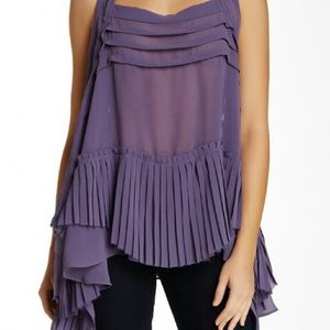 Lush Pleated Sharkbite Hem Purple Sleeveless Top S